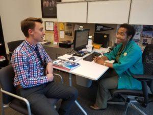 Barbara Young and David Lennox in the John Jay Career Center Photo: Viviana Villalva
