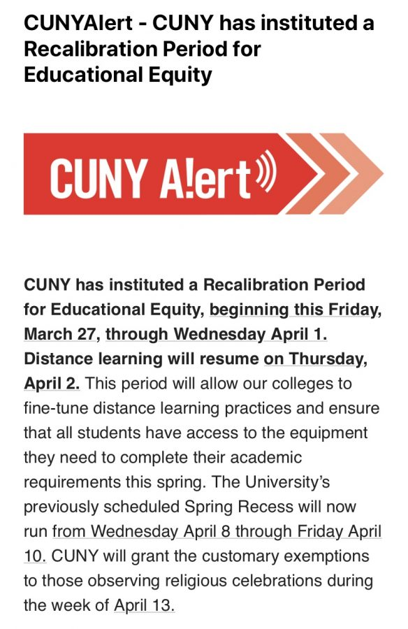 CUNY called for a Recalibration Period for Educational Equity