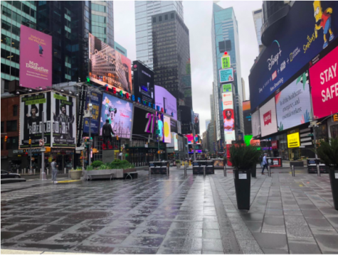 The once bustling Times Square is now empty due to Covid-19.