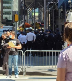 Police officers in Times Square preparing for the verdict